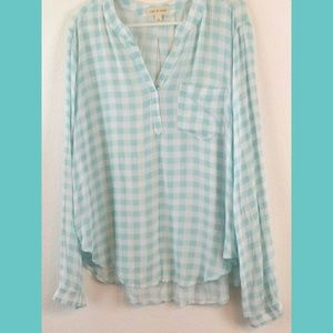 Cloth & Stone Gingham Pullover Top NWOT